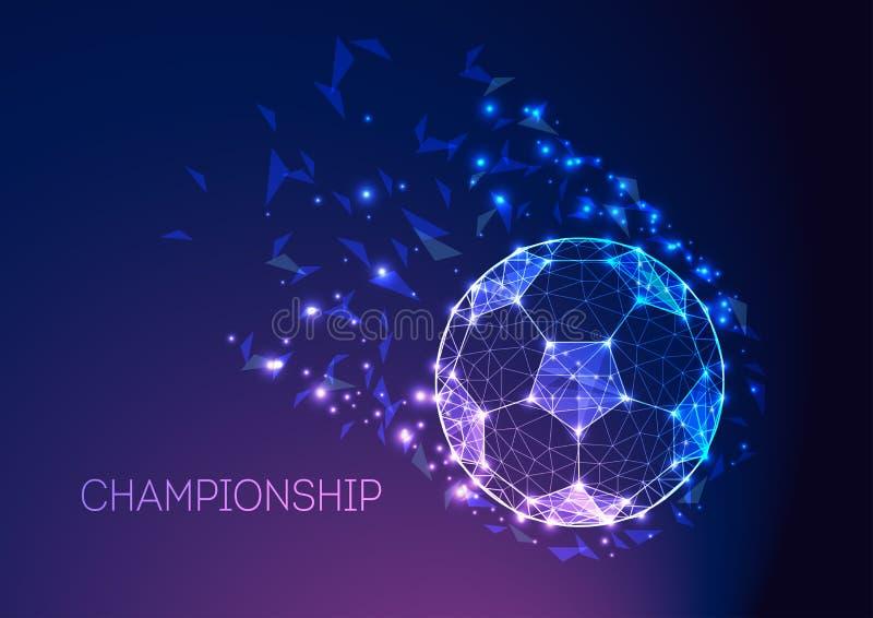 Conceito do campeonato do futebol com a bola de futebol futurista em escuro - fundo roxo azul do inclinação ilustração do vetor