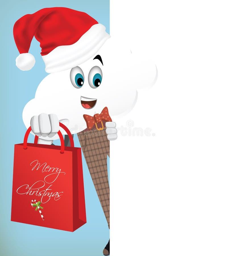 Conceito do Caráter-Natal da nuvem dos desenhos animados do divertimento ilustração stock
