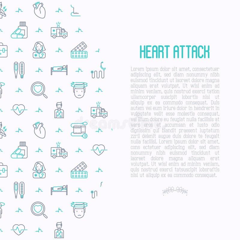 Conceito do cardíaco de ataque com linha fina ícones ilustração stock