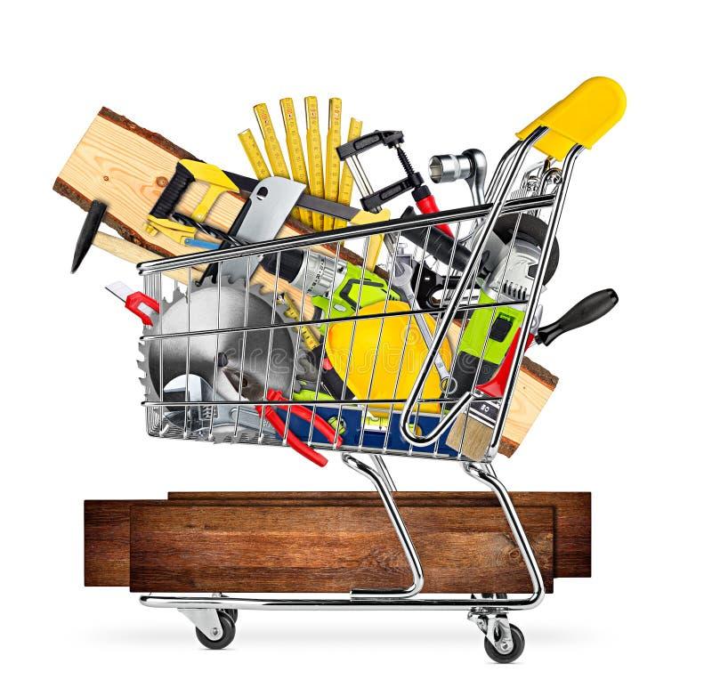 Conceito do carrinho de compras do mercado de DIY imagem de stock