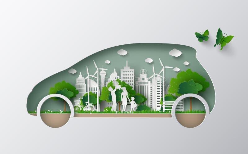 Conceito do carro de Eco ilustração stock