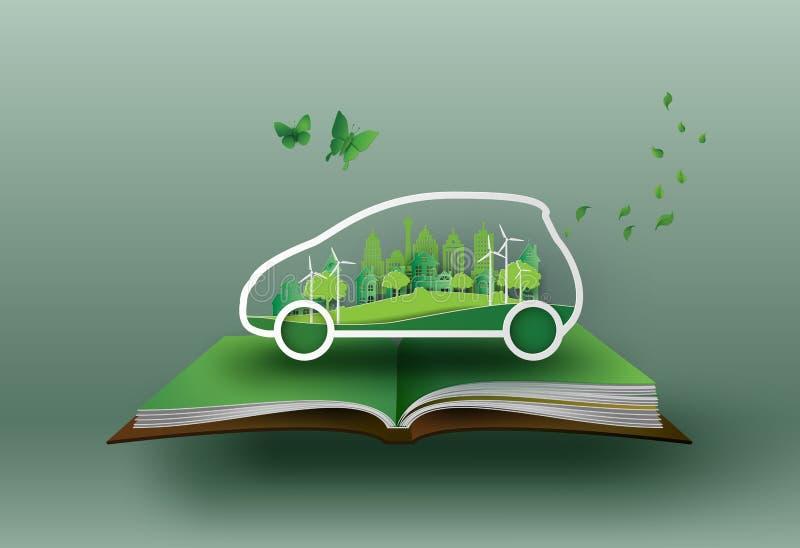 Conceito do carro de Eco ilustração royalty free