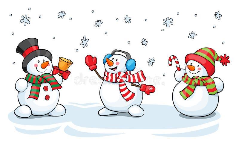 Conceito do cartão do vetor Grupo bonito do boneco de neve ilustração stock