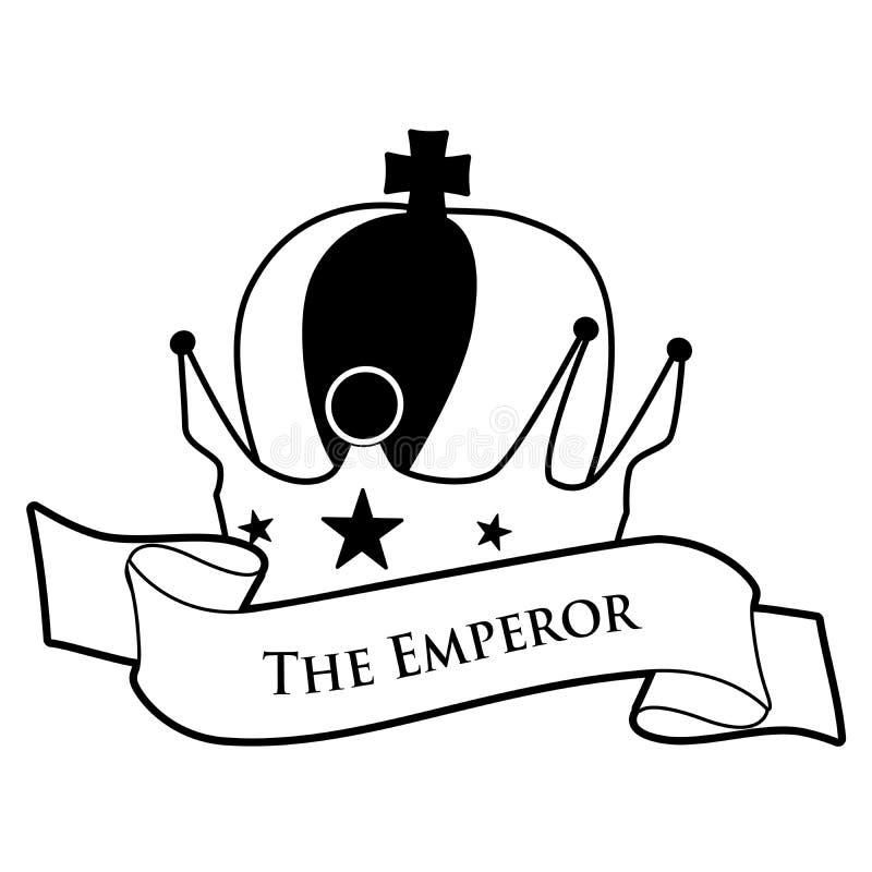 Conceito do cart?o de tar? A imperatriz Coroa imperial com cruz e estrelas e bandeira do texto, isolada no fundo branco ilustração do vetor