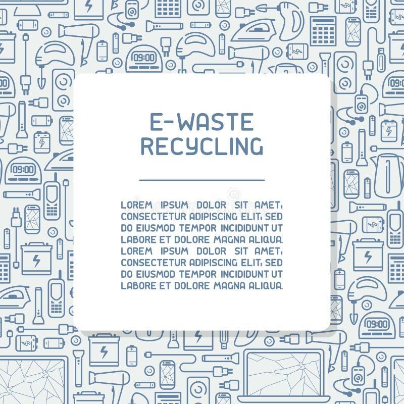 Conceito do cartaz da informação do lixo eletrônico com dispositivos e inscrição velhos ilustração royalty free