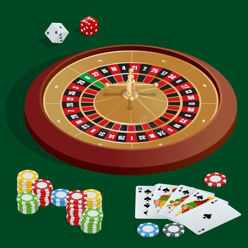Conceito do CASINO Fundo do casino com cartões, microplaquetas, excrementos e roleta Ilustração isométrica do vetor 3d liso ilustração do vetor