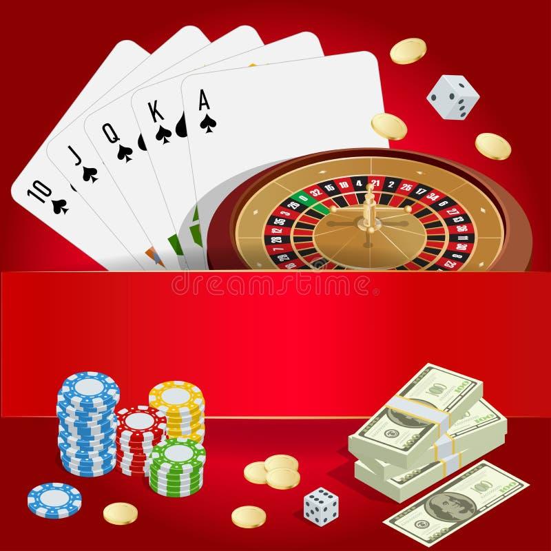Conceito do CASINO Fundo do casino com cartões, microplaquetas, excrementos e roleta Ilustração isométrica do vetor 3d liso ilustração stock