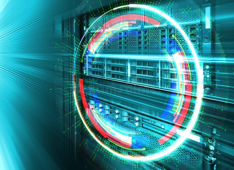 Conceito do centro de dados do armazenamento de disco Tecnologia da informação e base de dados no fundo tecnologico fotos de stock royalty free