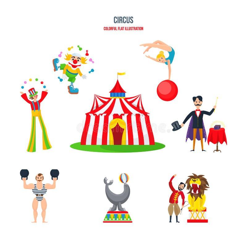 Conceito do circo - desempenhos, palhaços, jugglers, homem forte, acrobatas, mágico, instrutor animal ilustração royalty free