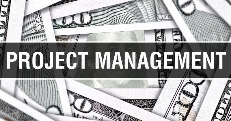 Conceito do close up da gestão do projeto Dólares americanos do dinheiro do dinheiro, rendição 3D Gestão do projeto na cédula do  imagens de stock royalty free