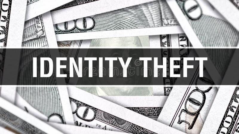 Conceito do close up do roubo de identidade Dólares americanos do dinheiro do dinheiro, rendição 3D Roubo de identidade na cédula ilustração do vetor