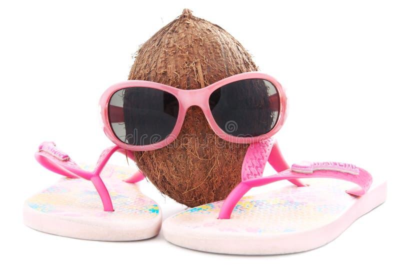 Conceito do coco para a agência de viagens com óculos de sol e beachwear foto de stock