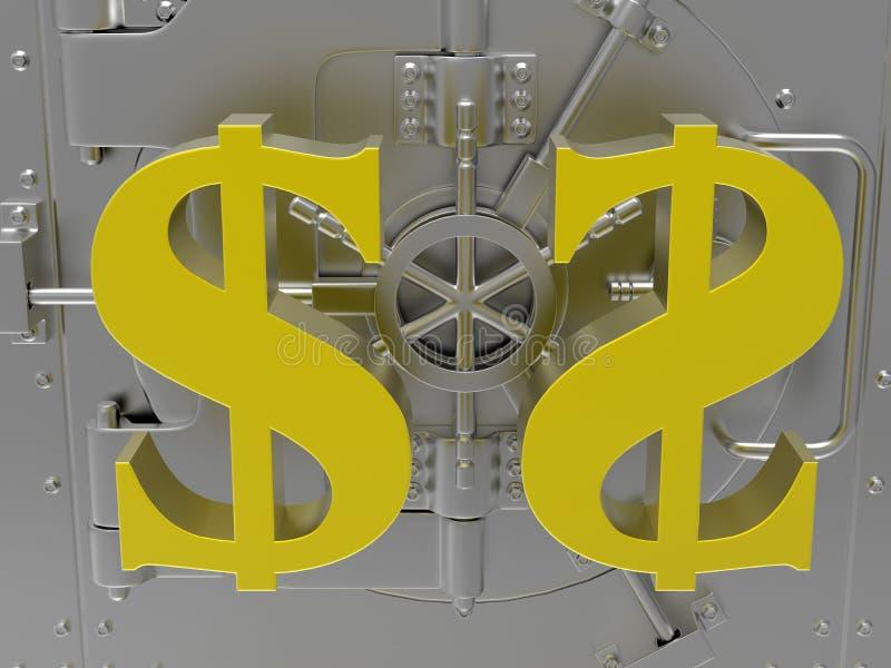 Conceito do cofre-forte do dólar ilustração do vetor