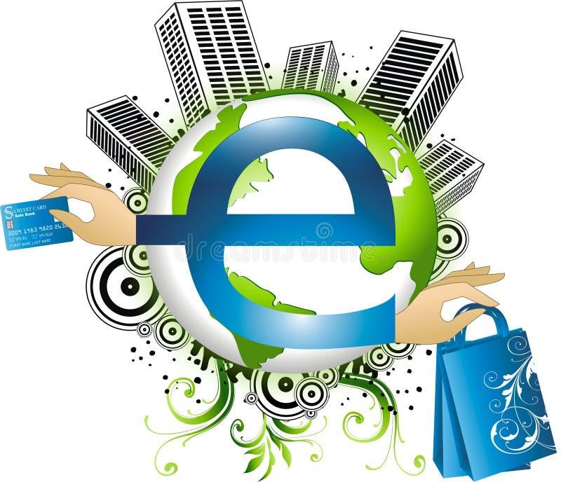 Conceito do comércio electrónico ilustração royalty free