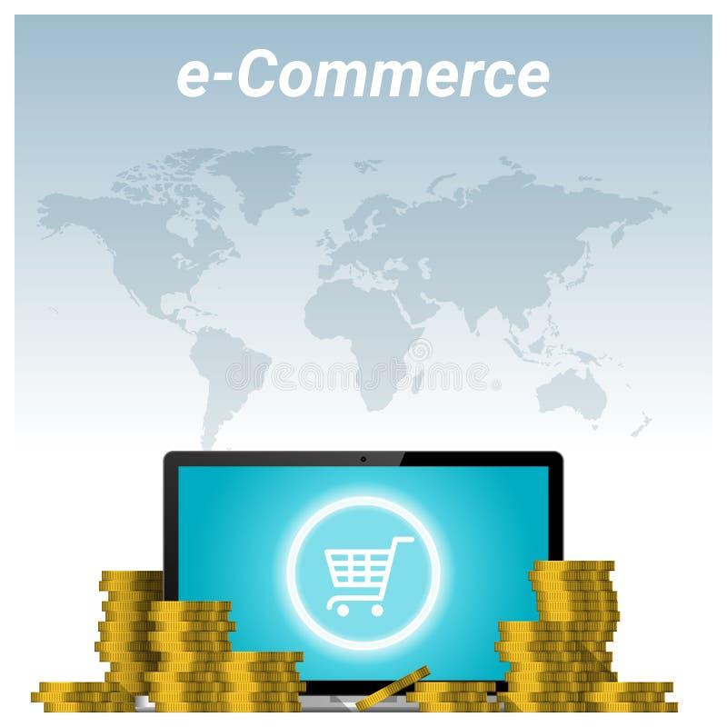 Conceito do comércio eletrônico com as pilhas do fundo dourado do portátil da moeda e do computador ilustração do vetor