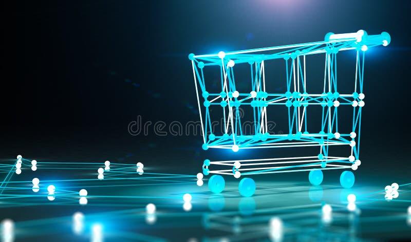 Conceito do comércio eletrônico e da e-compra ilustração do vetor