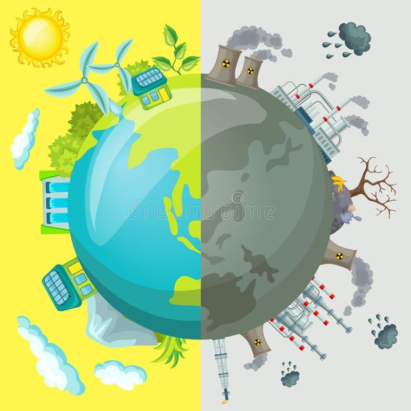 Conceito do comparativo dos desenhos animados da ecologia ilustração royalty free