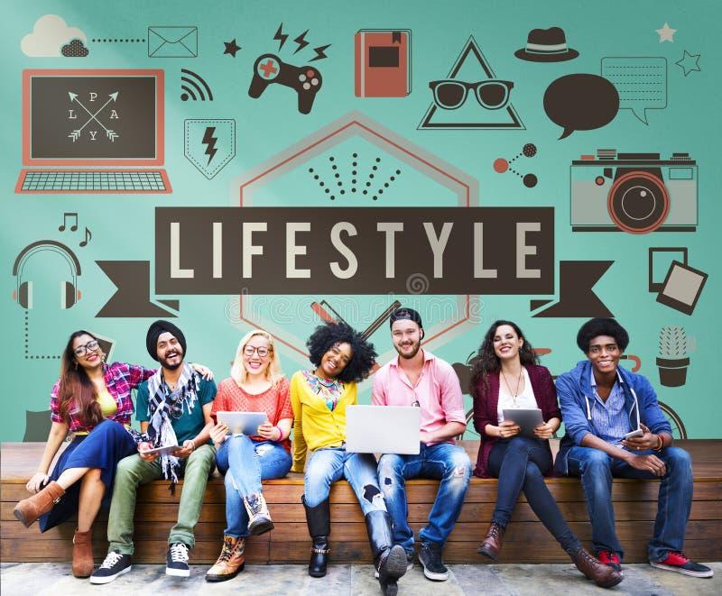 Conceito do comportamento da cultura dos hábitos da paixão do passatempo do estilo de vida imagens de stock