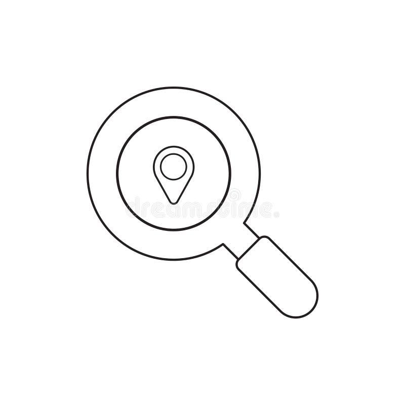 Conceito do ?cone da ilustra??o do vetor da lente de aumento com ponteiro do mapa ilustração do vetor
