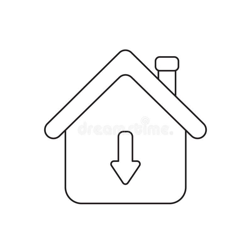 Conceito do ?cone do vetor da casa com seta para baixo ilustração stock