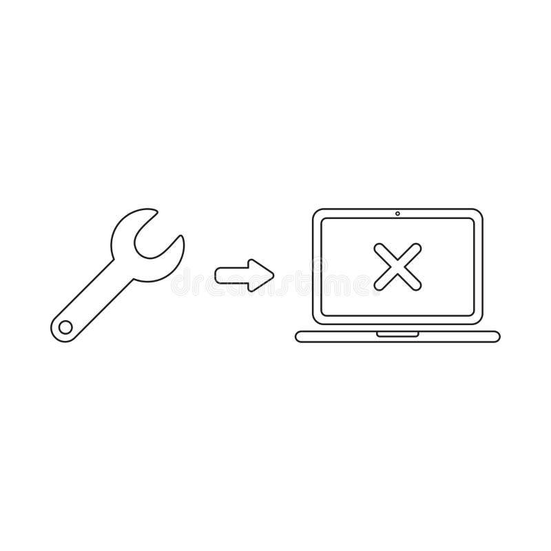 Conceito do ?cone do vetor da chave inglesa com marca de x dentro do port?til ilustração do vetor
