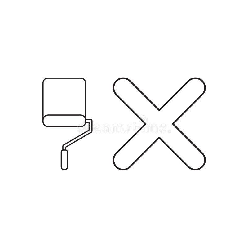 Conceito do ?cone do vetor da escova do rolo de pintura com marca de x ilustração stock