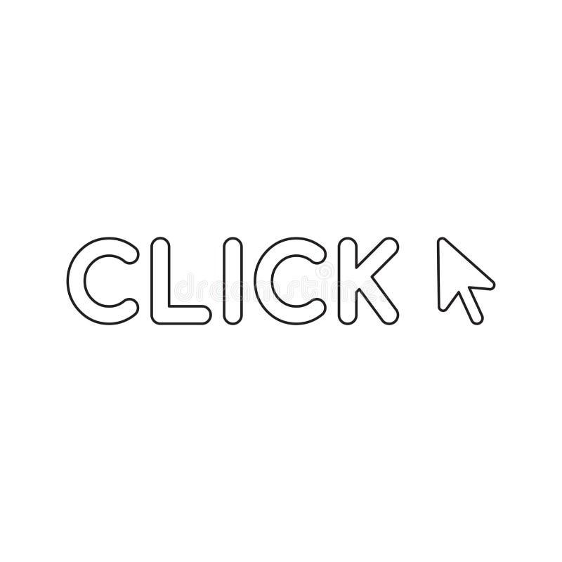 Conceito do ?cone do vetor da palavra do clique com cursor do rato ilustração stock