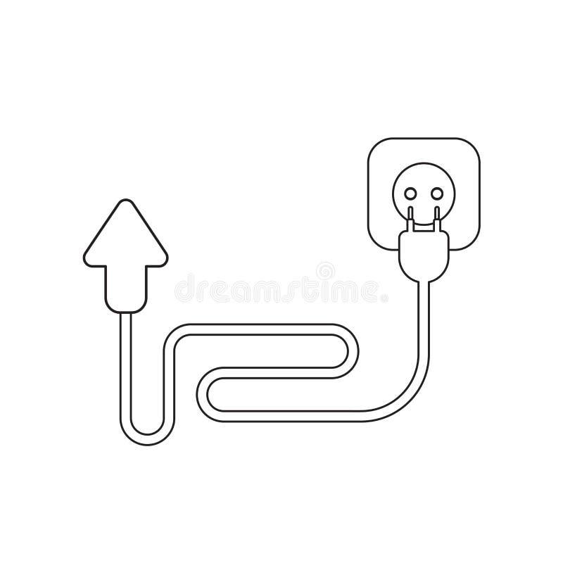 Conceito do ?cone do vetor da seta com cabo, tomada e tomada ilustração do vetor