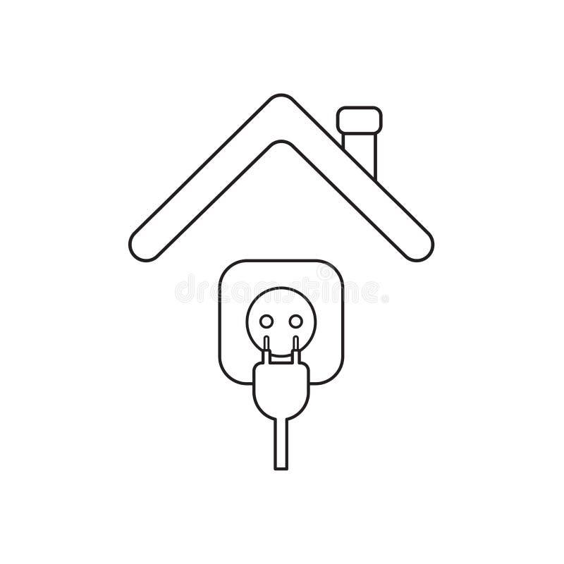Conceito do ?cone do vetor da tomada e da tomada sob o telhado ilustração do vetor