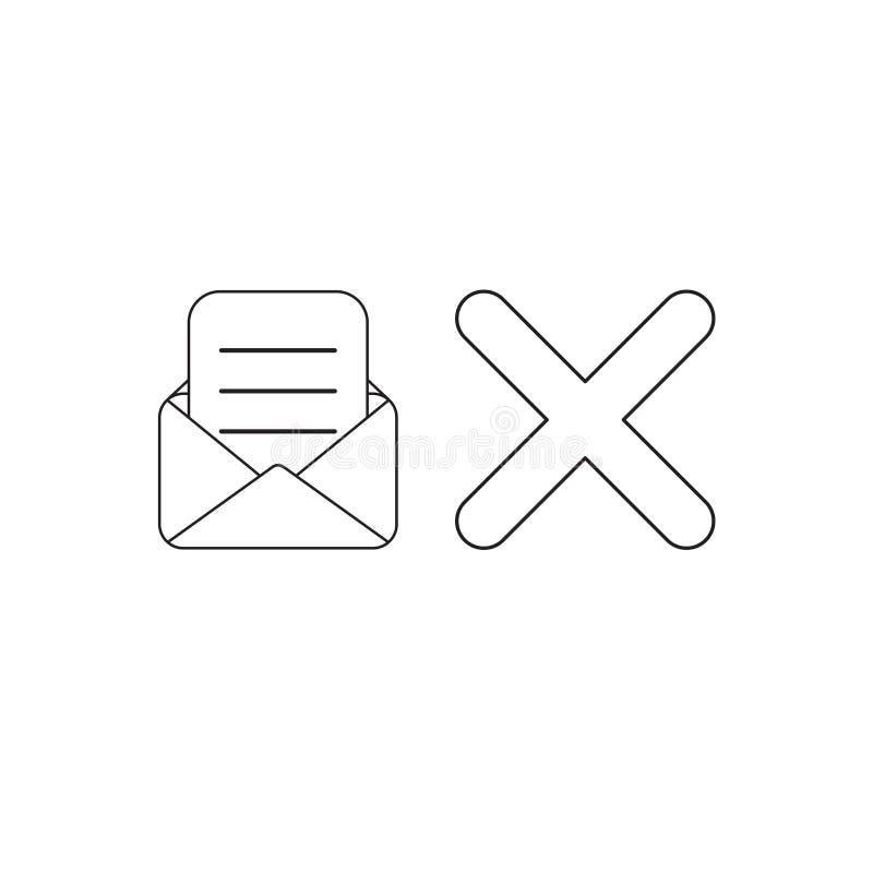 Conceito do ?cone do vetor do envelope aberto com papel escrito e marca de x Esbo?o preto ilustração stock