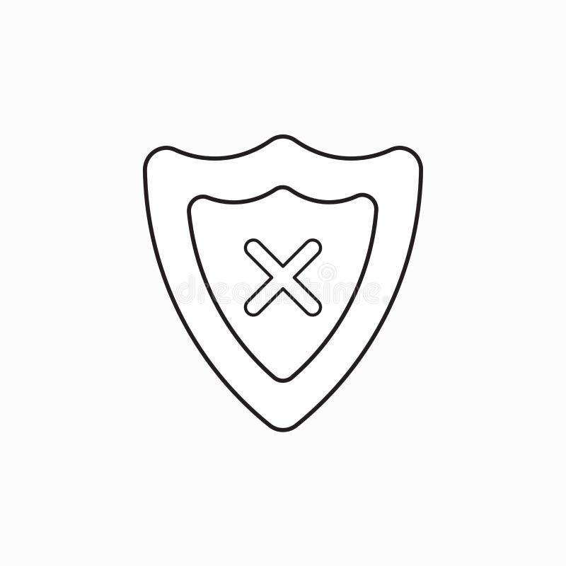 Conceito do ?cone do vetor do protetor do protetor com marca de x ilustração do vetor