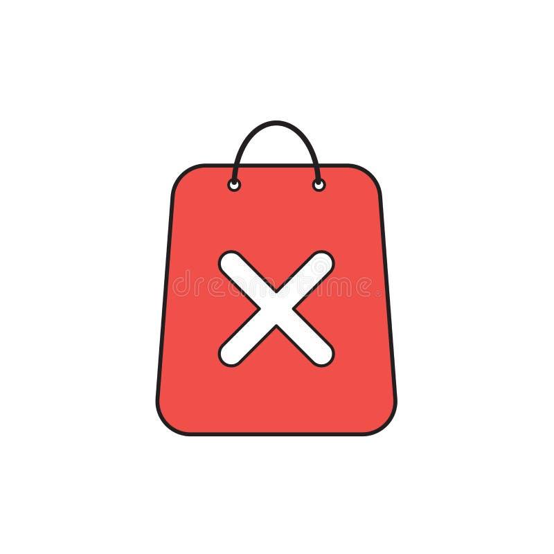 Conceito do ?cone do vetor do saco de compras com marca de x ilustração stock