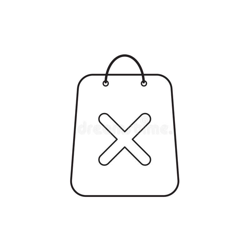 Conceito do ?cone do vetor do saco de compras com marca de x Esbo?o preto ilustração royalty free
