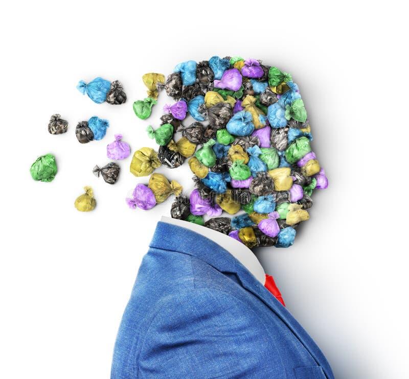 Conceito do conhecimento inútil Um revestimento com a cabeça feita de sacos de lixo dispersa foto de stock