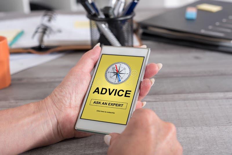Conceito do conselho em um smartphone fotografia de stock royalty free