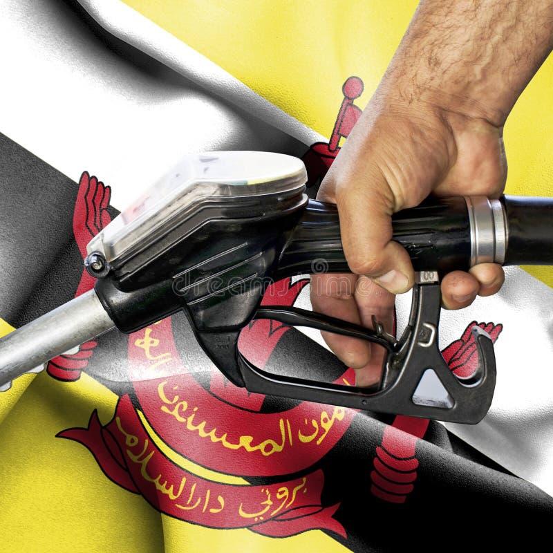 Conceito do consumo da gasolina - mangueira da terra arrendada da mão contra a bandeira de Brunei Darussalam fotos de stock