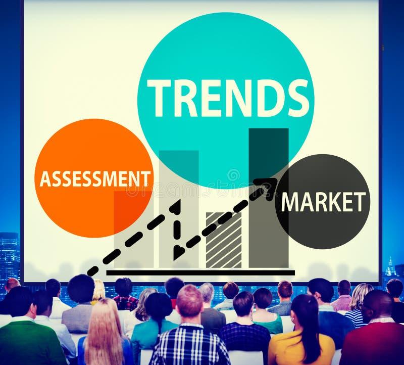 Conceito do contemporâneo da forma do mercado da avaliação das tendências foto de stock
