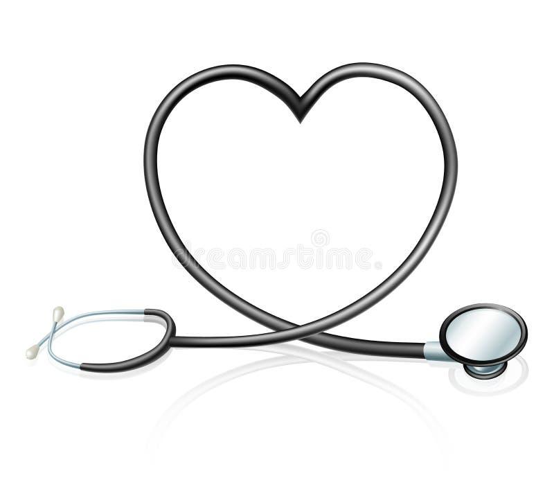 Conceito do coração do estetoscópio ilustração royalty free