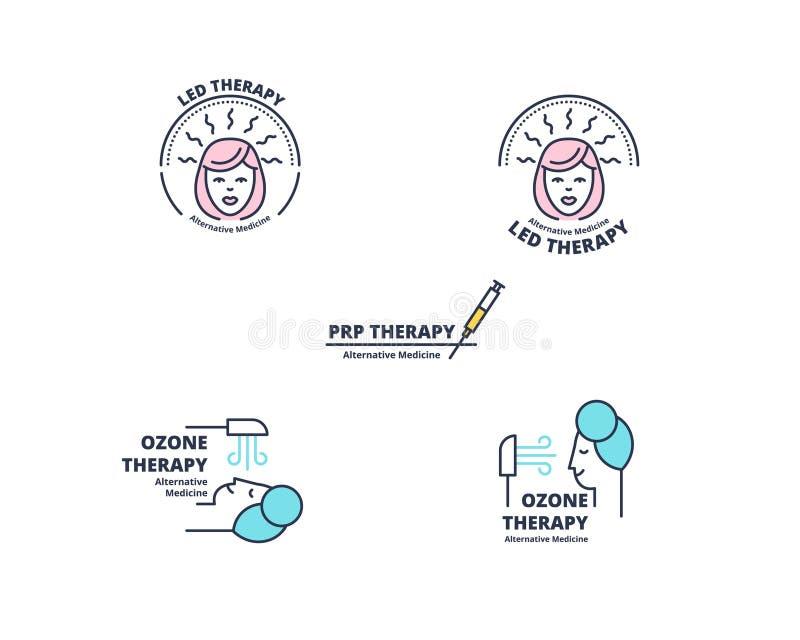 Conceito do crachá da terapia de ozônio de Minimalistic no branco ilustração royalty free