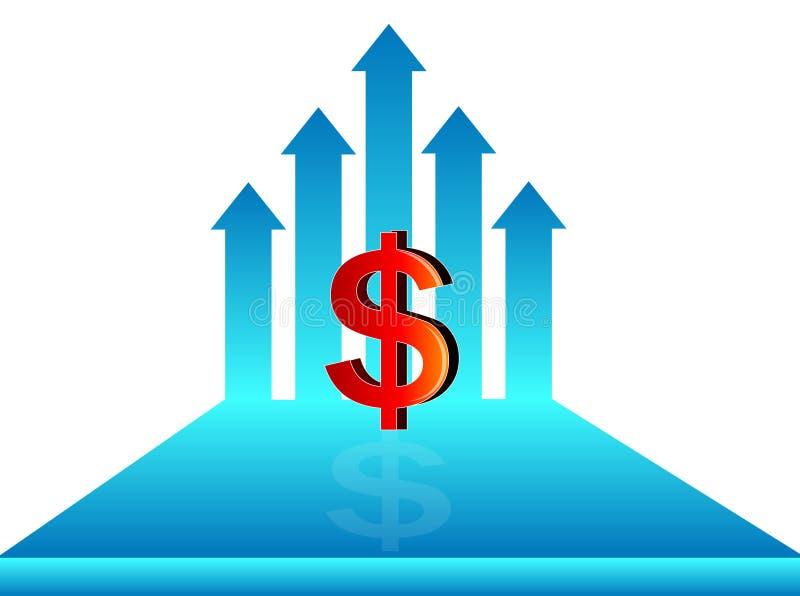 Conceito do crescimento do dólar, símbolo do dólar com seta crescente, ilustração ilustração stock