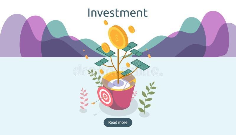 Conceito do crescimento da gest?o empresarial Ilustração isométrica do vetor dos retornos sobre o investimento com a planta da mo ilustração do vetor