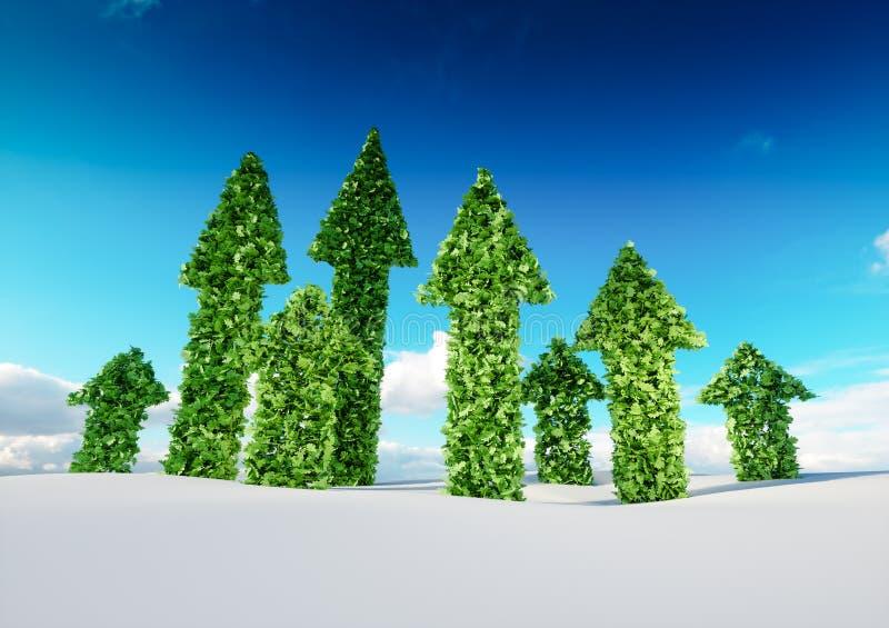 Conceito do crescimento de sustentação do eco e do desenvolvimento sustentável 3d IL ilustração stock