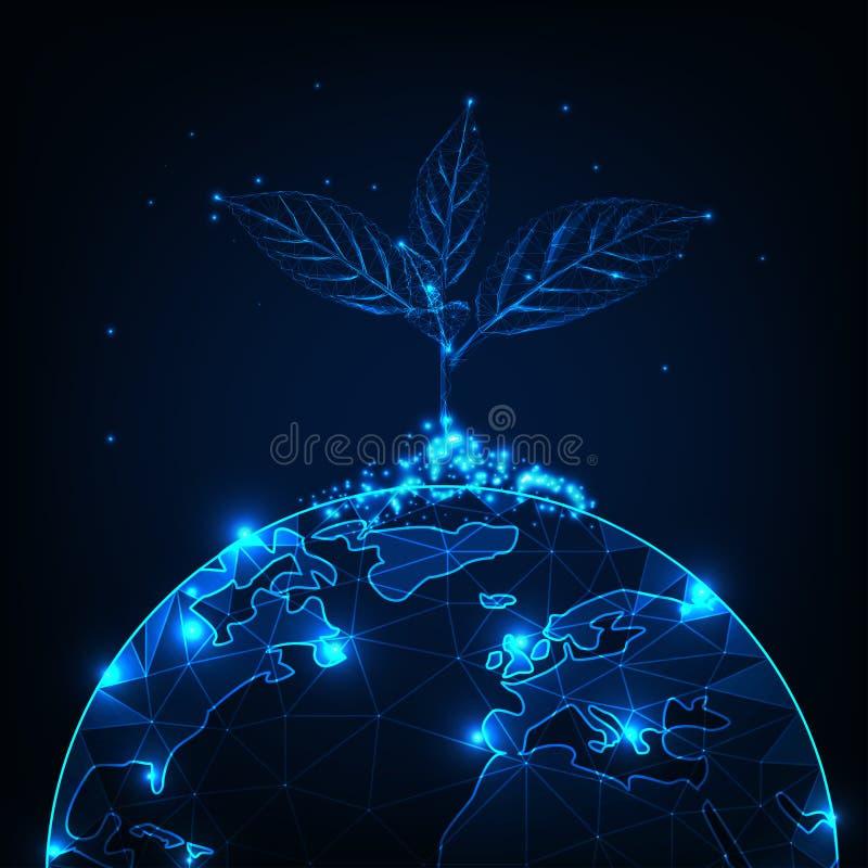 Conceito do crescimento e do desenvolvimento com o baixo broto poligonal de incandescência da planta plantado na terra do planeta ilustração do vetor