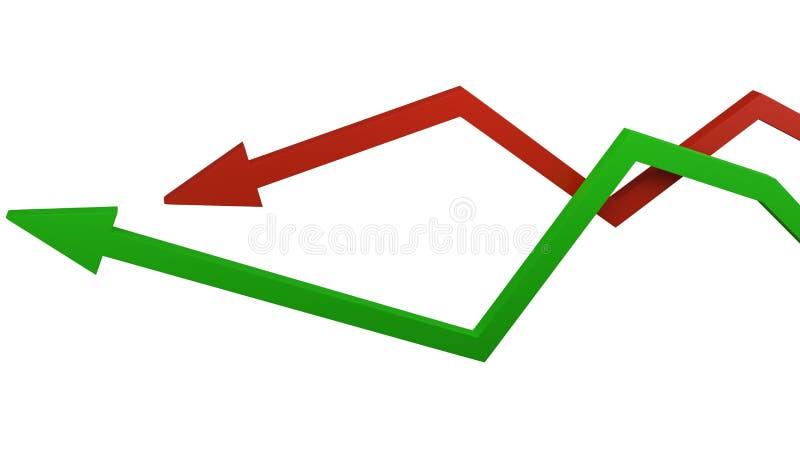 Conceito do crescimento econômico e da retirada ilustração do vetor
