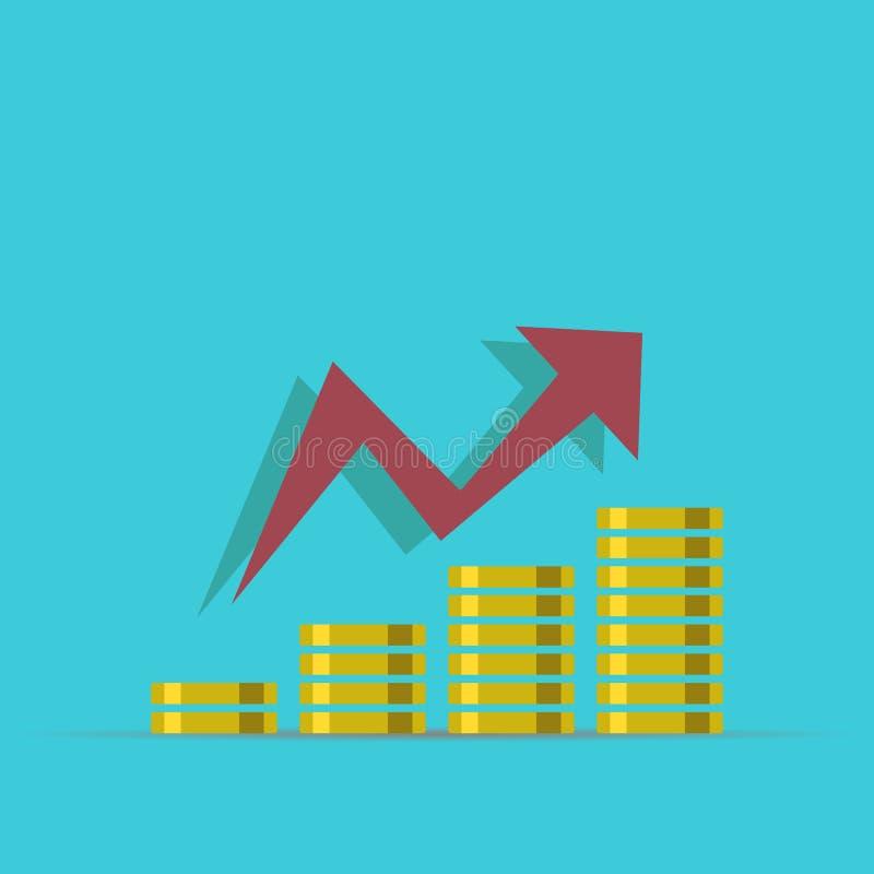 Conceito do crescimento ilustração do rendimento do dinheiro Pilhas de moedas de ouro como o gráfico da renda com libra Ilustraçã ilustração do vetor