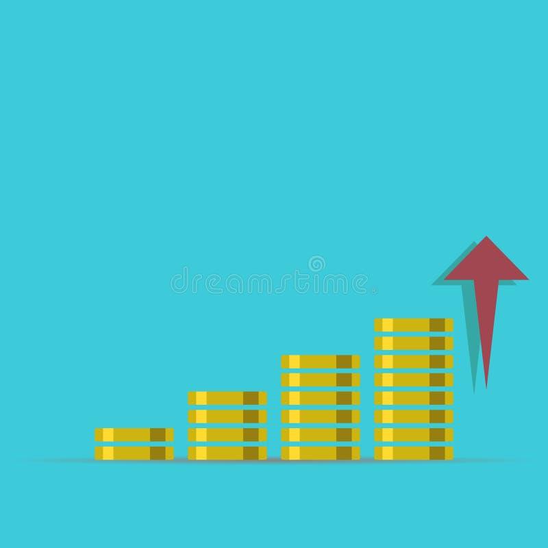 Conceito do crescimento ilustração do rendimento do dinheiro Pilhas de moedas de ouro como o gráfico da renda com libra Ilustraçã ilustração royalty free