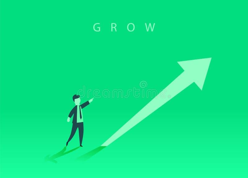 Conceito do crescimento do neg?cio com uma seta ascendente e um homem de neg?cios que mostram o sentido S?mbolo do sucesso, reali ilustração stock