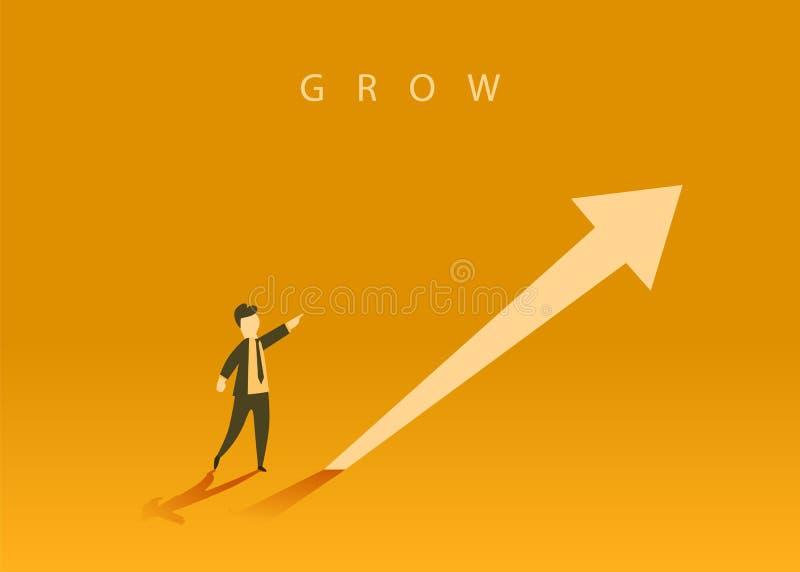 Conceito do crescimento do neg?cio com uma seta ascendente e um homem de neg?cios que mostram o sentido S?mbolo do sucesso, reali ilustração royalty free