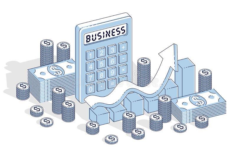 Conceito do crescimento do sucesso comercial e da renda, calculadora, wi da carta ilustração do vetor