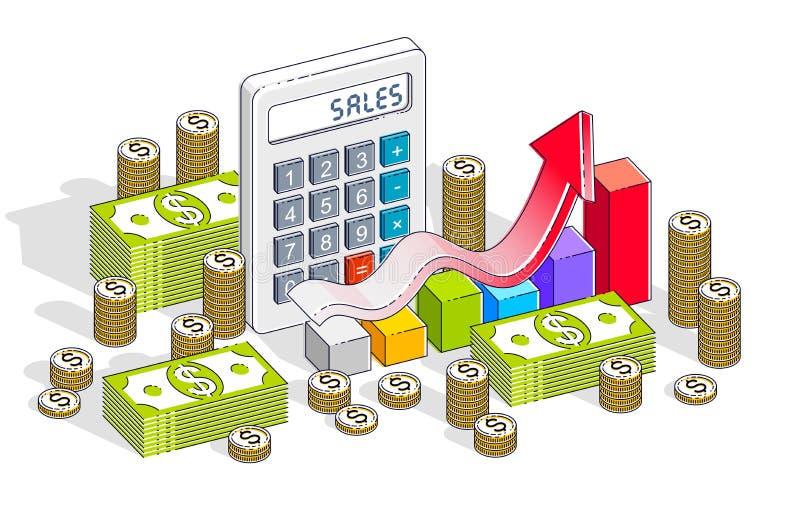 Conceito do crescimento do sucesso comercial e das vendas, calculadora, sagacidade da carta ilustração do vetor